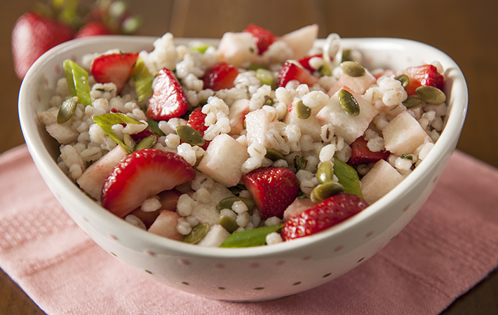 Barley Salad with Strawberries, Jicama and Lime-Mint Dressing