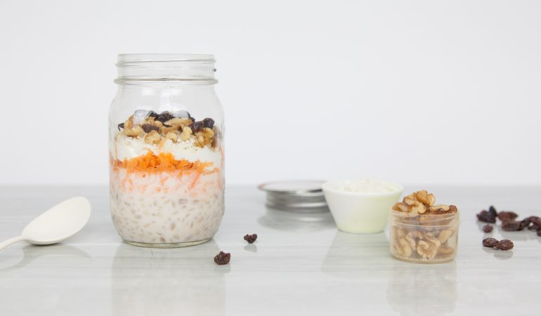 Carrot Cake Barley with Walnuts, Raisins and Greek Yogurt